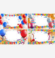 four backgrounds with party theme vector image