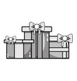 grayscale nice presents gifts to merry christmas vector image vector image