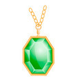 green gemstone mockup realistic style vector image vector image