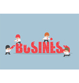 group business people assembling jigsaw puzzle vector image