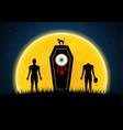 halloween coffin moon graveyard zombie eyeball cat vector image vector image