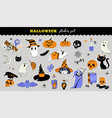 halloween cute stickers collection vector image