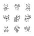 hand drawing cartoon happy kids back to school vector image