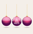 Hanging purple Christmas baubles background vector image