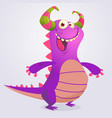 happy cartoon violet dragon vector image vector image