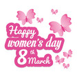 happy womens day butterfly eight march vector image vector image