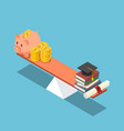 isometric piggy bank and dollar coin equal to vector image vector image