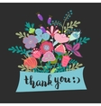 lettering thank you flowers vector image vector image