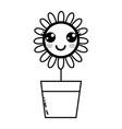 line kawaii beauty and happy flower plant vector image vector image