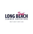long beach surfing emblem or logo vector image
