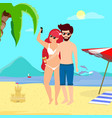 man and woman on seaside background making selfie vector image