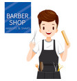man hairdresser with barber shop equipment vector image