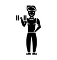 man strong doing exercises with weights in gym vector image vector image