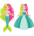 princess and mermaid vector image