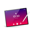 realistic tablet with stylus pen mockup vector image vector image