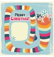 Retro Christmas Sock background vector image vector image