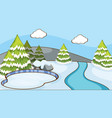 scene with pine trees in snow vector image