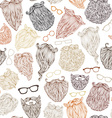 seamless pattern of various beards and eyeglasses vector image vector image