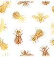 seamless pattern with bees bees with eye vector image vector image