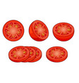 set fresh red tomato slices isolated on white vector image
