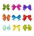 set of colorful gift bows with ribbons decoration vector image vector image