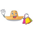 shopping straw hat in the shape mascot vector image vector image