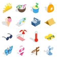 Summer icons set isometric 3d style vector image vector image
