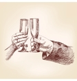 Two hands with champagne glasses vector image