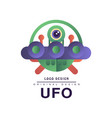 ufo logo original design badge with saucer and vector image vector image