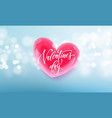 valentines day lettering text on valentine red vector image vector image