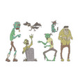 walking decaying zombies set undead people and vector image vector image