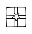 wrapped gift box star decoration party icon thick vector image vector image