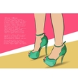 Young woman shopping for fashion shoes Hand draw vector image