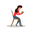 young woman sitting in rocking chair girl leisure vector image