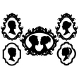 family portrait silhouettes in picture frames vector image