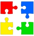 Four colored puzzle pieces on white background vector image