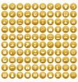 100 charity icons set gold vector image vector image
