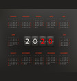 2020 year calendar template editable layout vector image