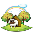 A dog inside a doghouse vector image vector image