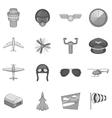 Aviation icons set monochrome style vector image