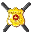 Badge and batons police vector image vector image