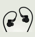 black earphones vector image vector image