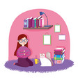 book day girl with cat coffee cup and books vector image