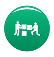 building teamwork icon green vector image vector image