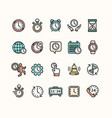 clock signs color thin line icon set vector image