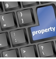Computer keyboard with property word - business vector image
