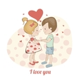 Couple in love in hearts Boy and girl holding vector image vector image