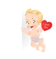 Cute cupid with valentine card holding a large vector image vector image