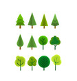 different trees clipart cartoon style 3d vector image