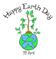 earth day with world and tree style vector image vector image